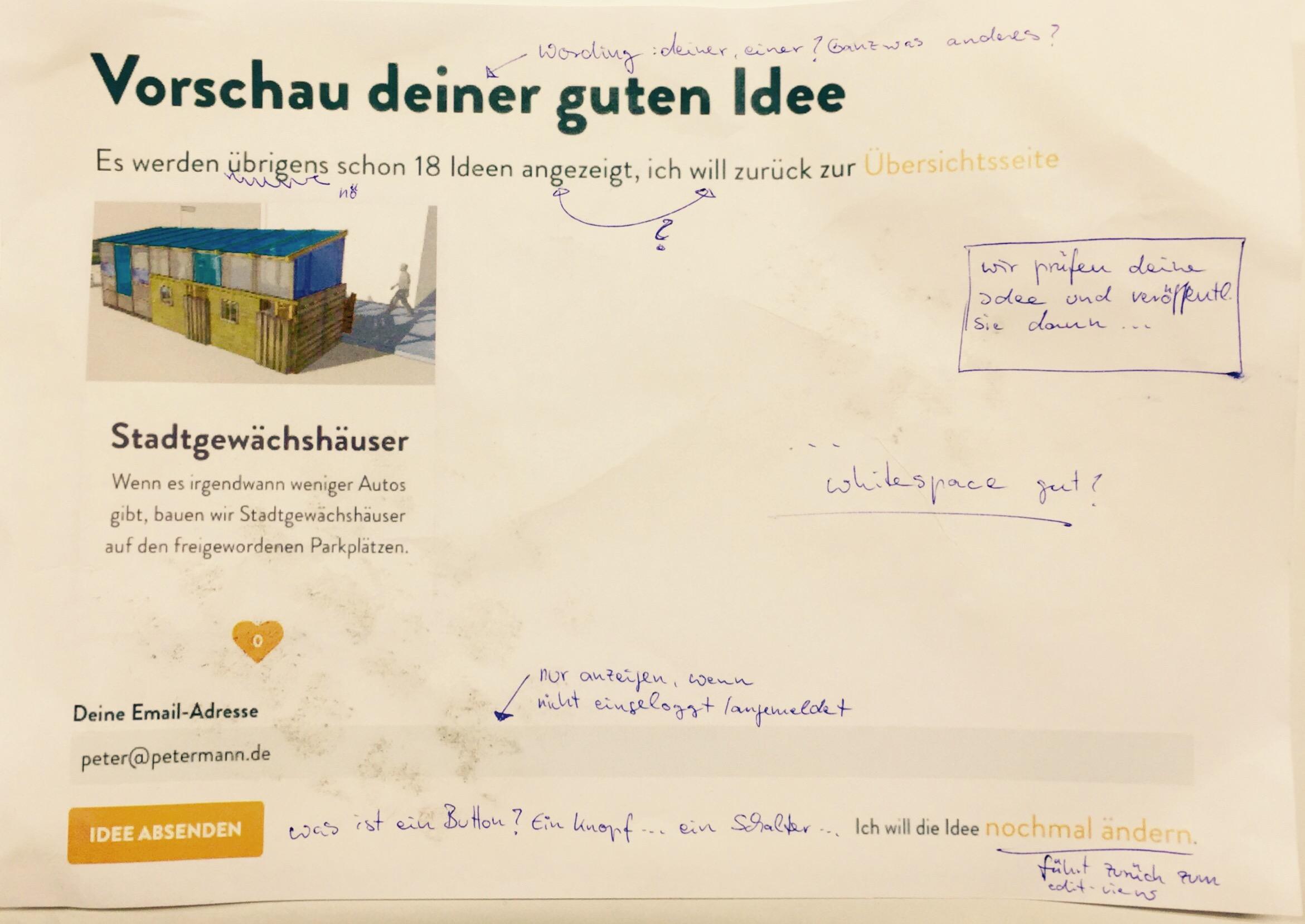 Ideen-App auf Zettel mit Notizen